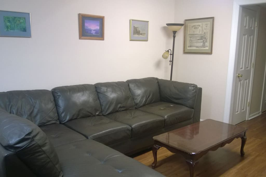 Very comfortable leather sectional for relaxing or sleeping