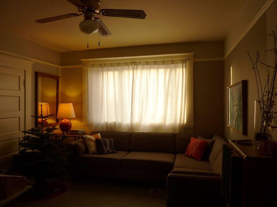 The living room at Christmas.