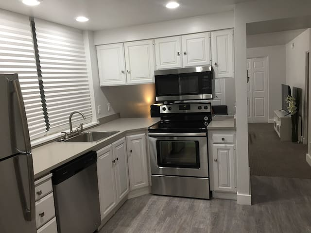 Newly remodeled kitchen with stainless appliances and quartz countertops. Filled with snacks and cooking gear to make or re-heat food with ease.