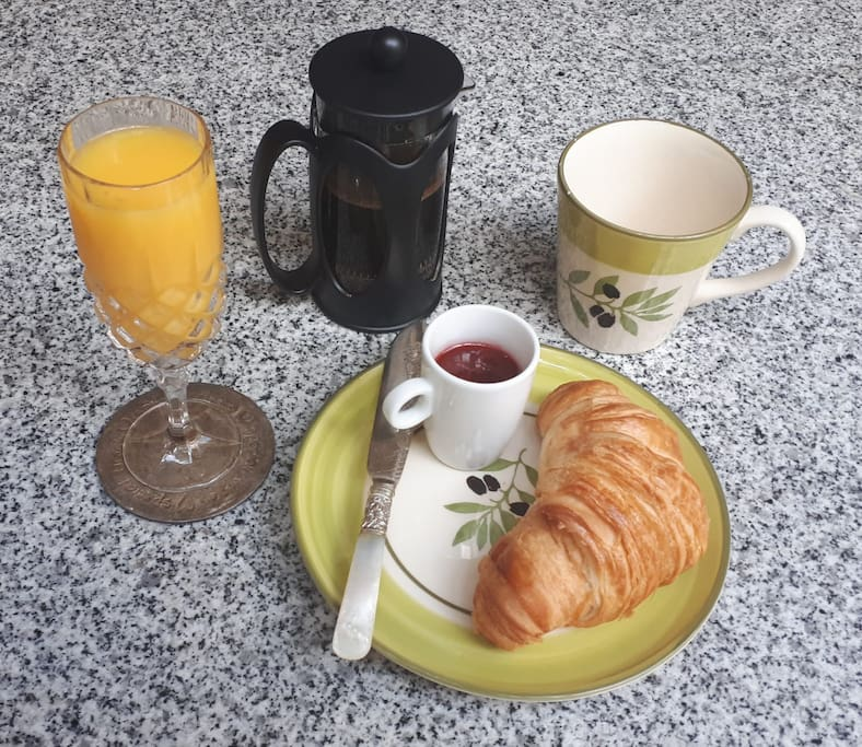 Delicious and fresh continental breakfast served to the room for only £3.50 pp