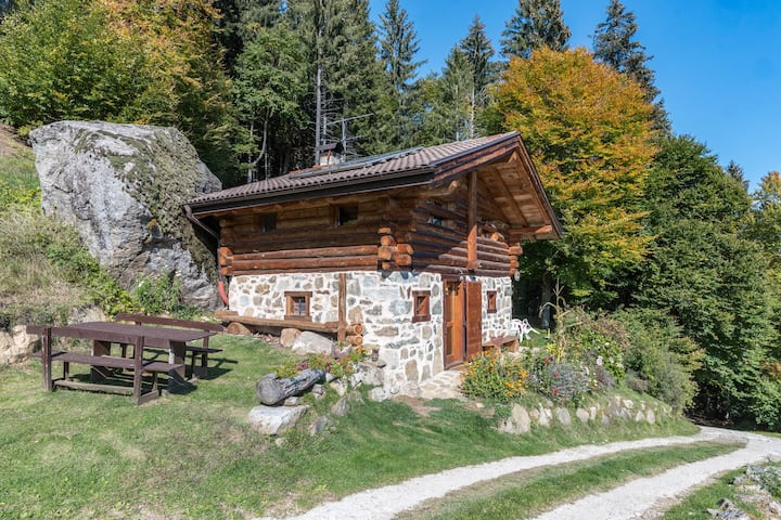 "Country-Style Holiday Home ""Baita Pizabornè"" (CIPAT number: 022244-AT-050337) in Fantastic Scenery with Mountain View, Fireplace & Garden; Parking Available, Pets Allowed"