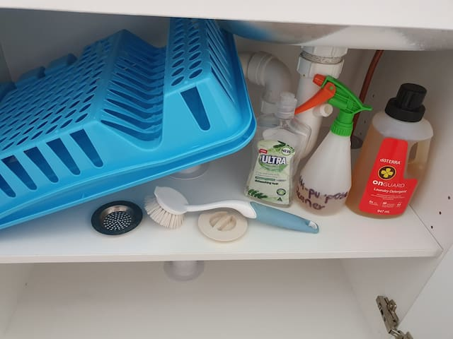 Dish rack, brush and liquid.  Laundry detergent, multi purpose spray, plug and filter