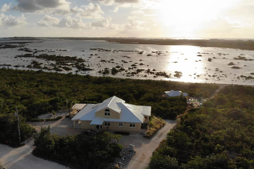 Westview, aerial view. Sunset over Juba Sound