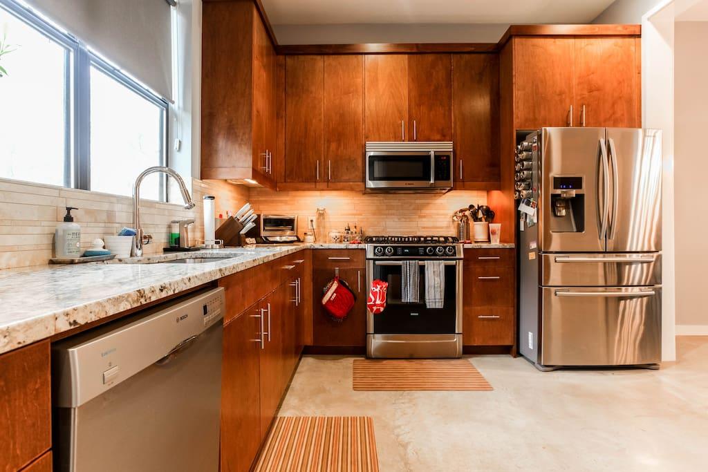 Downstairs modern kitchen with new appliances
