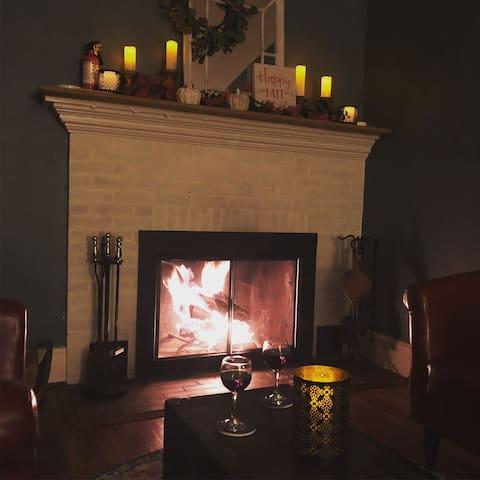 Cozy fireplace nook