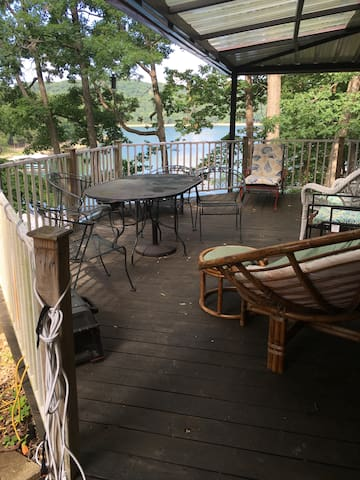 Porch and deck overlooking Beaver Lake
