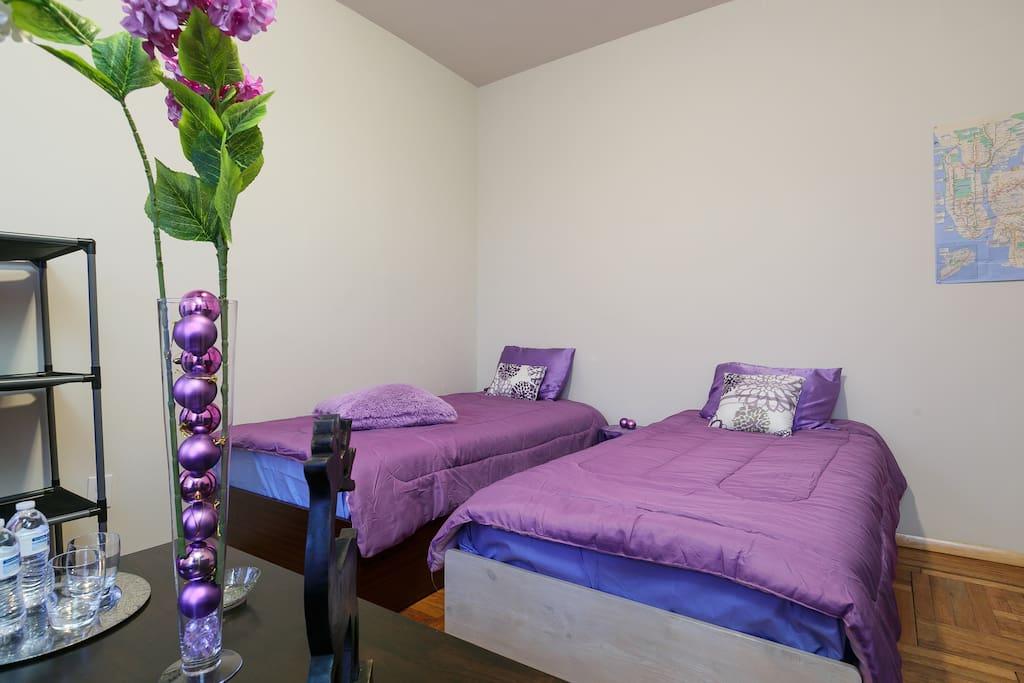 Pour les amis voyageurs, deux grands lits individuels (Twin) très confortables sont à leur disposition. Pratique quand on ne voyage pas en couples.