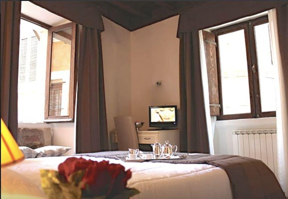 La splendida accoglienza della camera da letto.