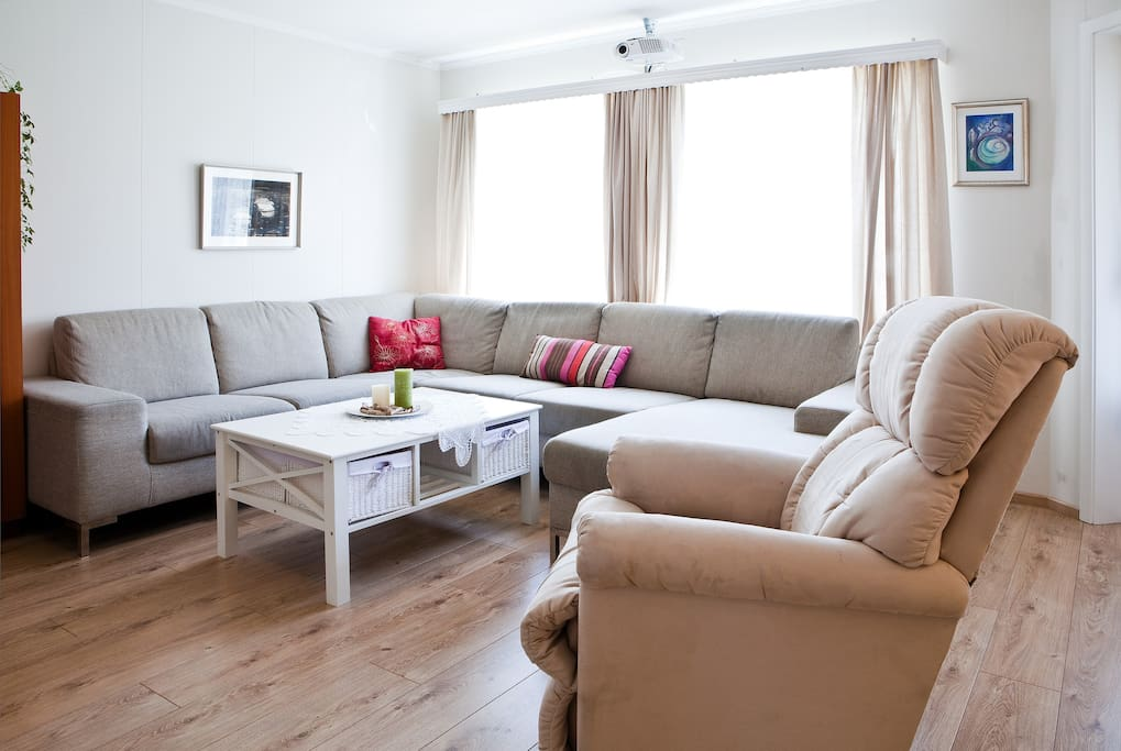 The living room- a very comfy sofa and lazyboy