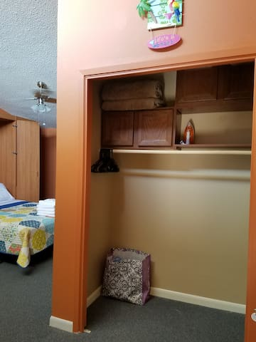 Plenty of closet space for a family on vacation. Iron and ironing board so you can look sharp for those beach photos.