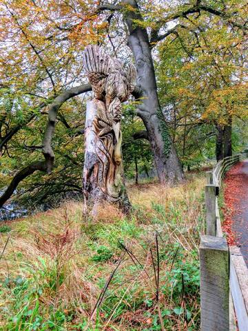 Sculpture on Abbey Road which runs alongside River Nidd.