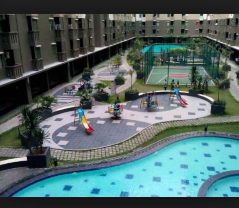 Swimming pools, basketball court, playground