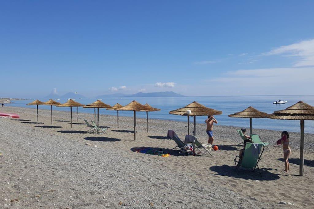 Spiaggia vista isole Eolie