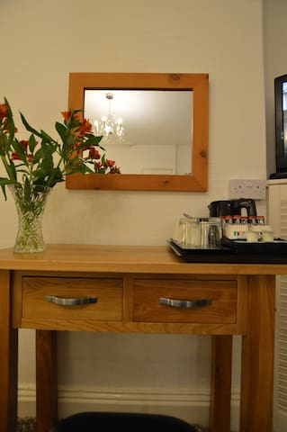 dressing table or desk with tea and coffee making facilities