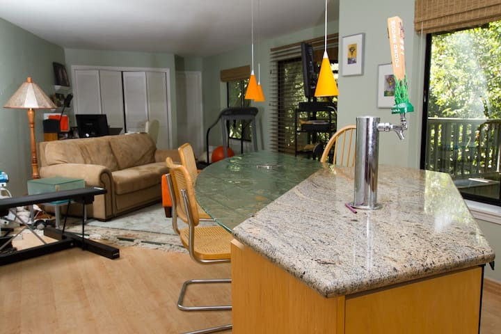 Includes custom glass table, microwave, toaster oven, coffee maker, and 2 refrigerators.
