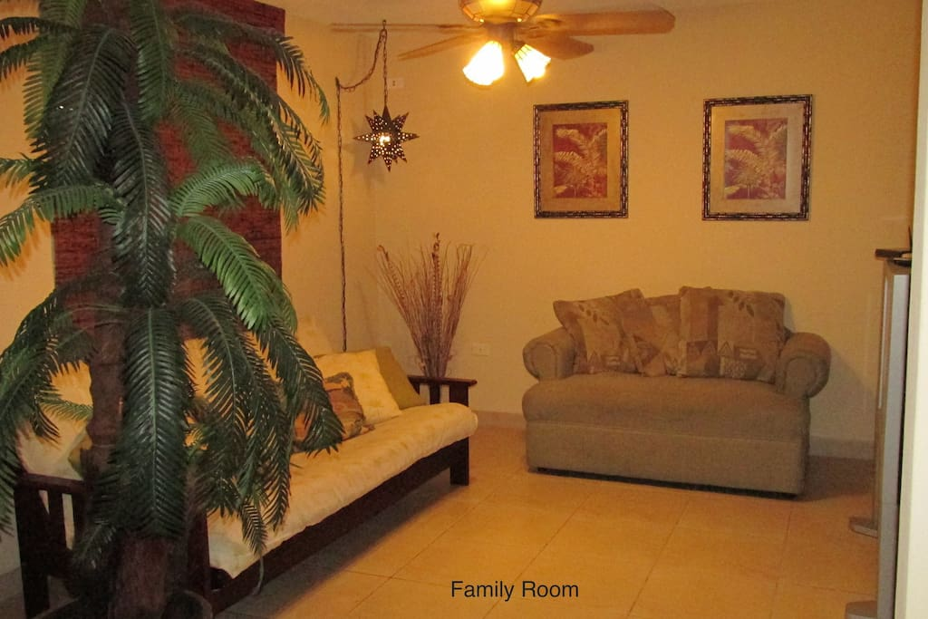 Family room, have a futone convertible to a bed, sleeps 2