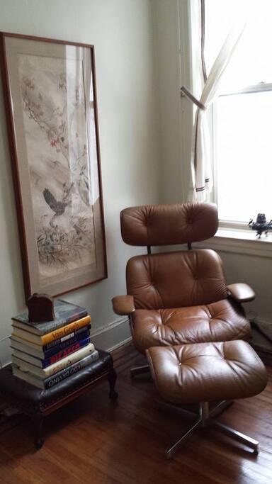 Eames lounge chair/ottoman + Japanese Meiji era print + Tibetan dragon pot