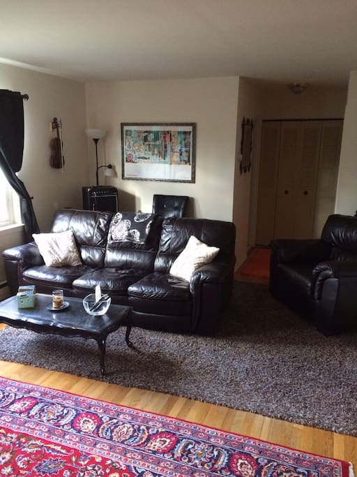 Very bright and spacious living room. Leather couch is very comfortable for sleeping too!