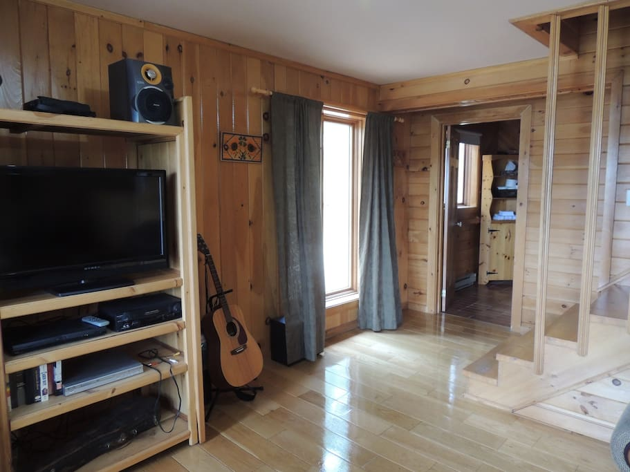 Living area near the stairs to the second floors.