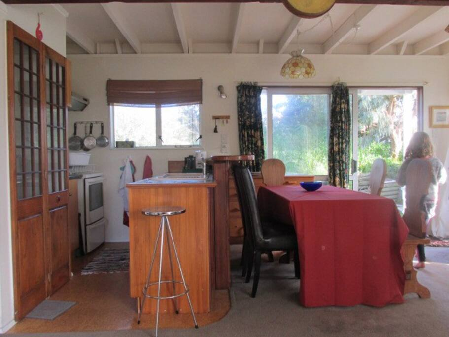 Galley kitchen with dining table