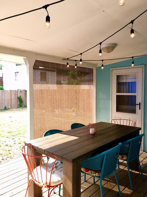 Back patio with dining table
