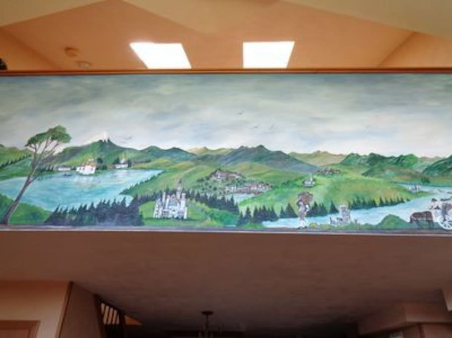 Hand painted Bavarian mural in living room