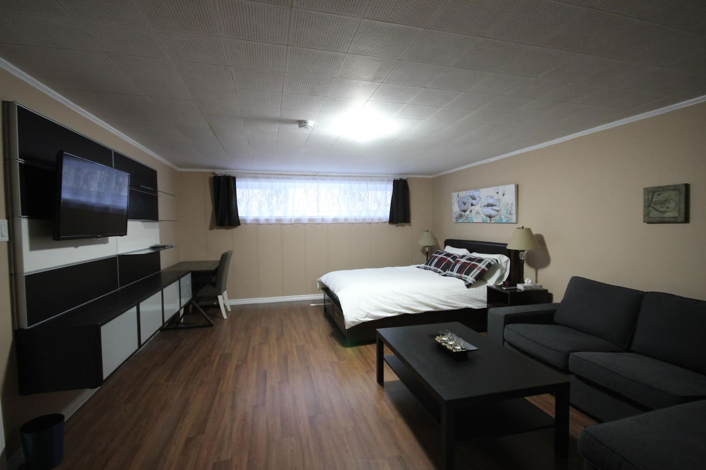 This room includes its own living room and a queen sized bed. It is located in the basement for extra privacy. Large windows allow for lots of sunlight.