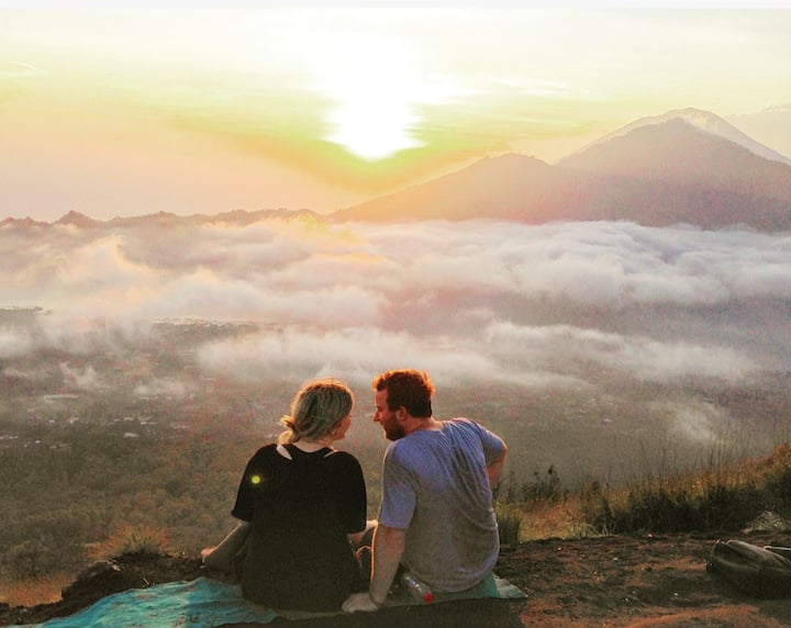 While the sunrise at Mt Batur