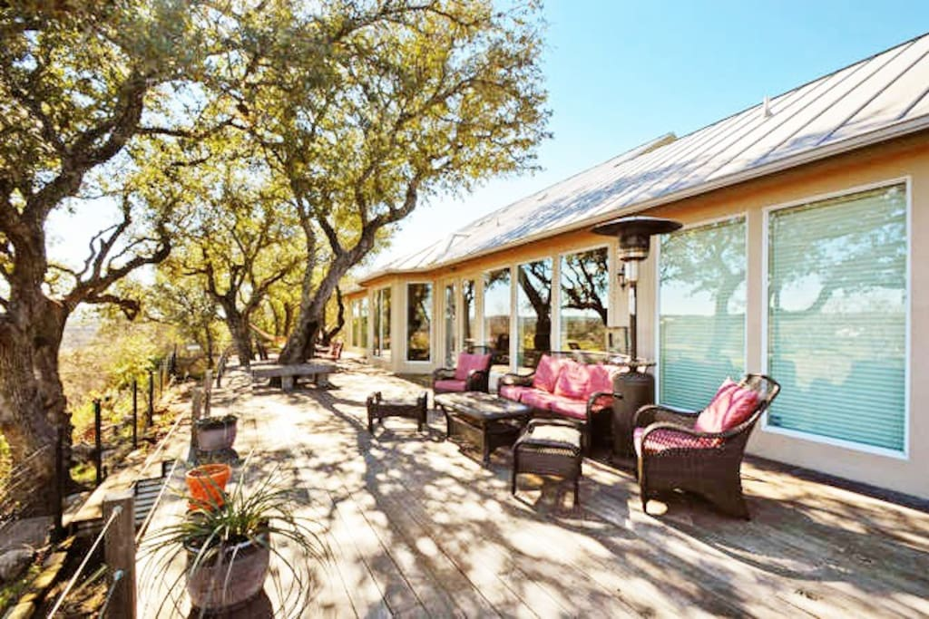 Grab a cold beverage and unwind on the comfortable patio furniture overlooking the property.