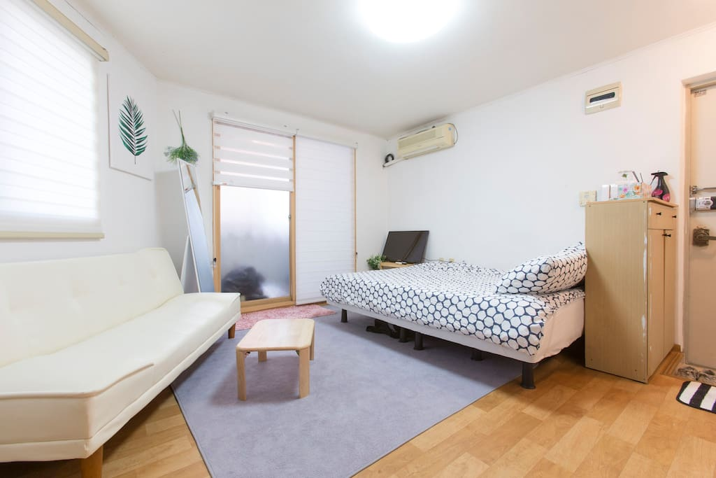 Full private place. One queen size room, double size sofa bed.