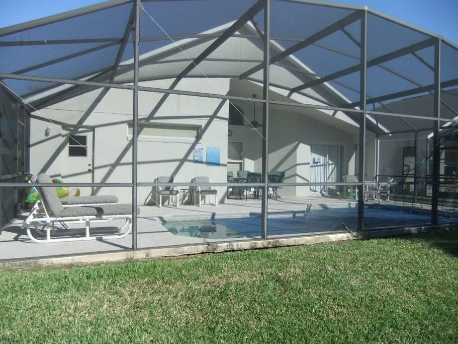 Enclosed private pool.