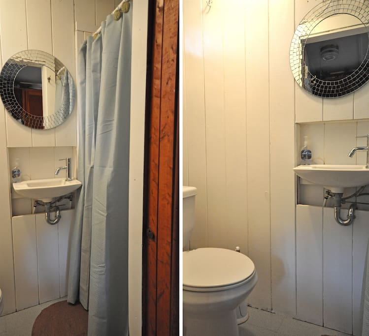 Bathroom with shower stall.