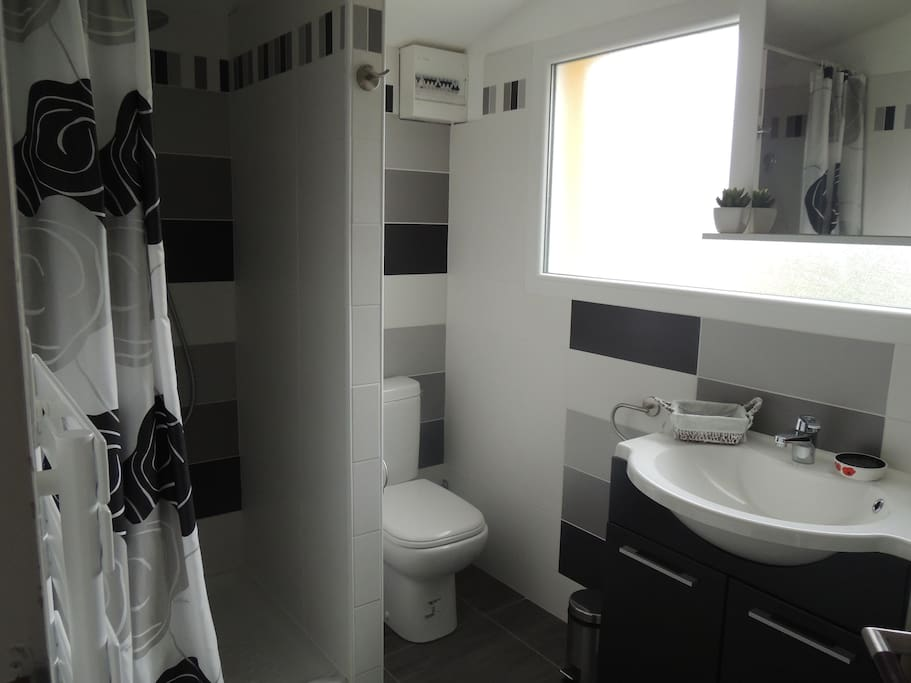 Très jolie salle d'eau neuve avec lave-linge.