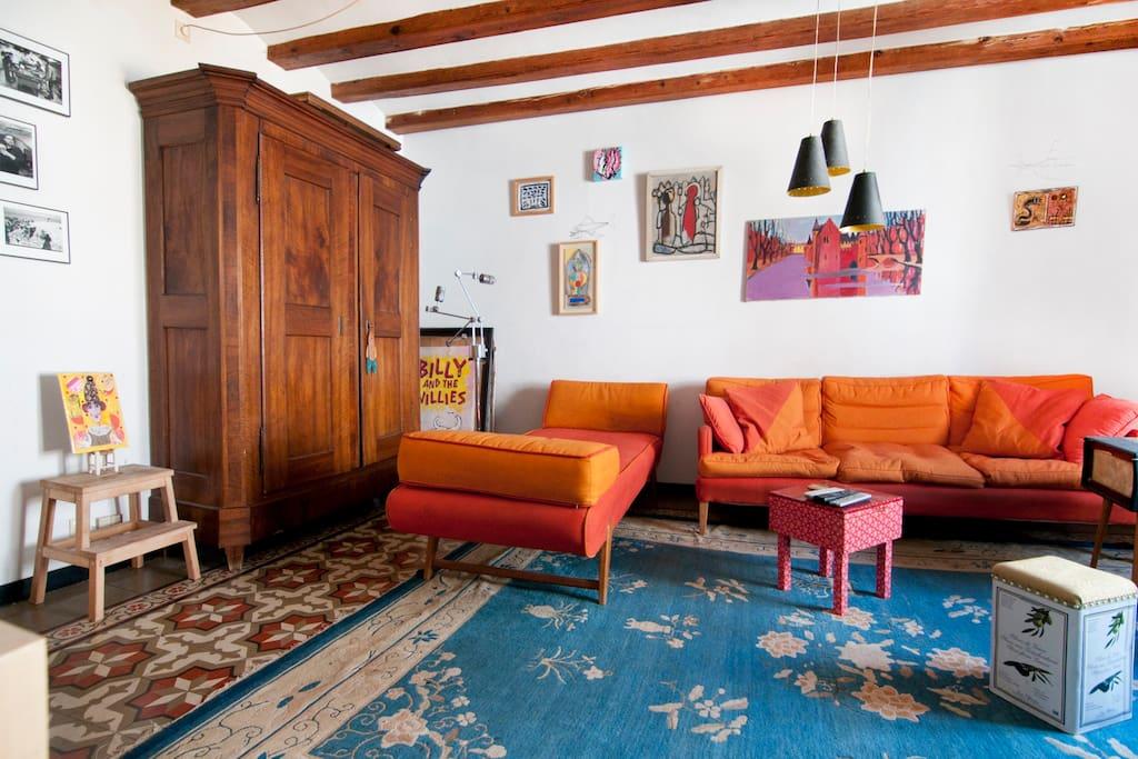 Antique Modernista (Spanish Art Nouveau) floor tiles and lots of art!