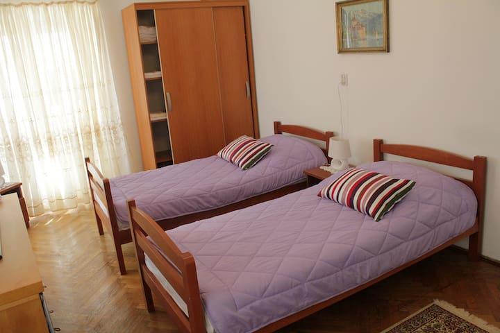 Twin room with sofa bed.