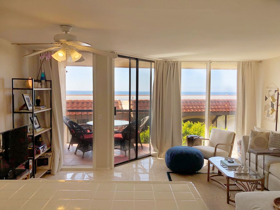 This condo has ocean views from the kitchen and living room. Open the patio door, feel the ocean breeze, and hear the waves crash.