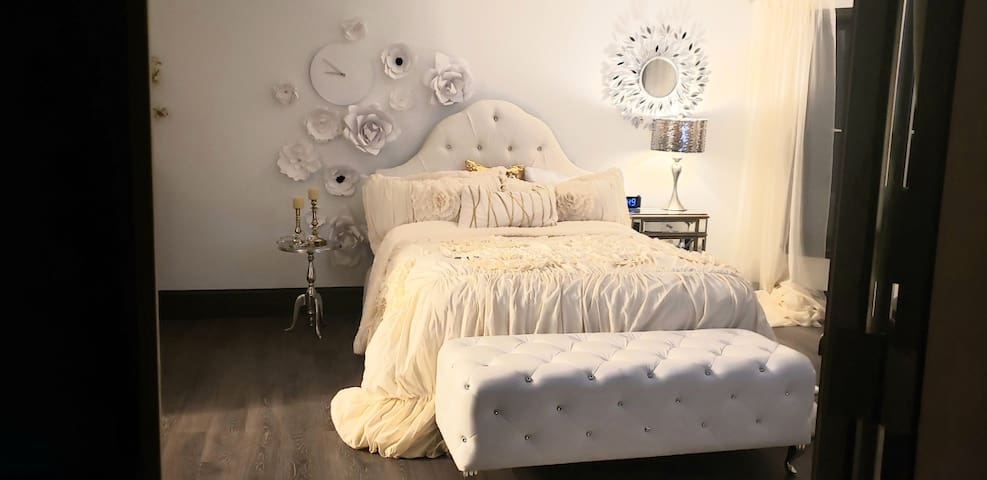This room is glamarous and comfy. The designer bedding and accessories in this room are stunning.
