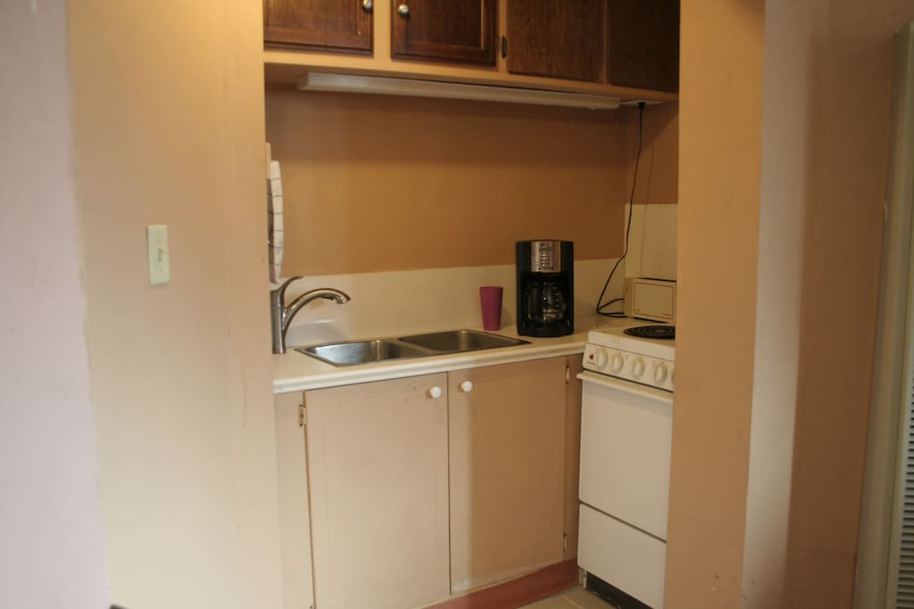 The galley kitchen has been newly installed (no dishwasher.)