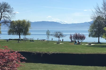 Beach apartment with lake and Alp view - Rolle - Wohnung