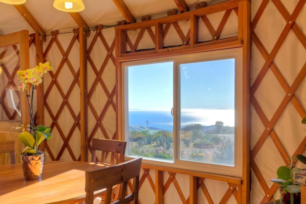 A view of the ocean from the kitchen table.