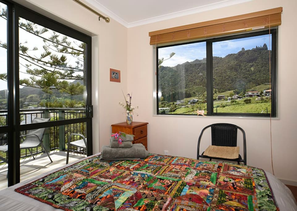 The Manaia Suite's scenic views of McLeods Bay and Mount Manaia