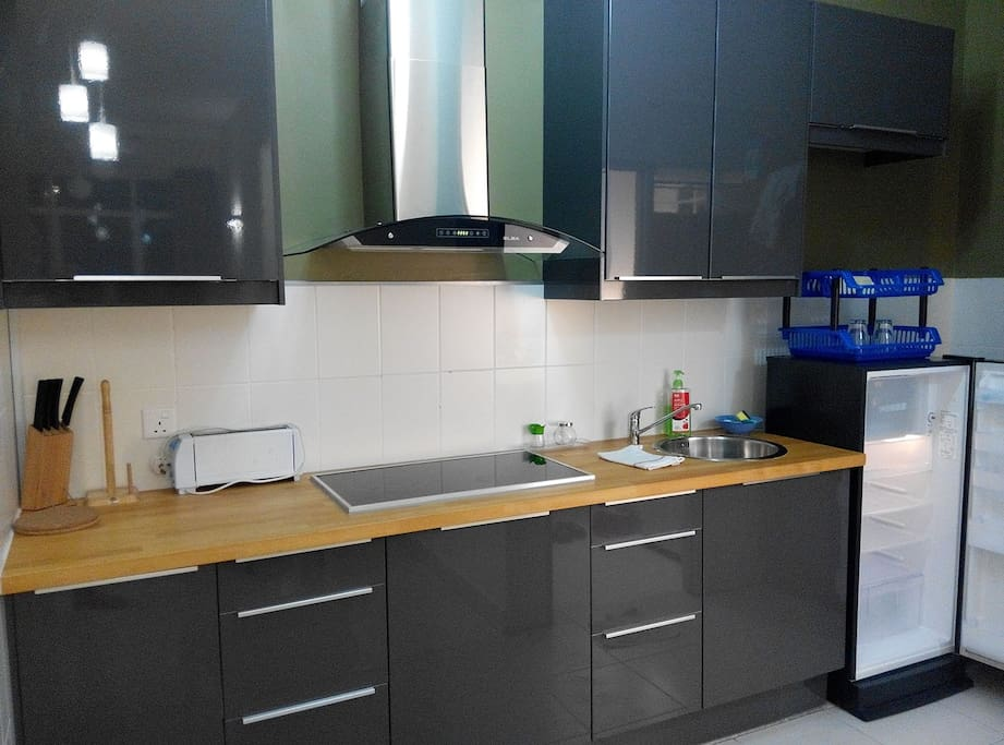 Kitchen, with all pots, pans, cutlery, crockery, cups, glasses etc etc you will need.