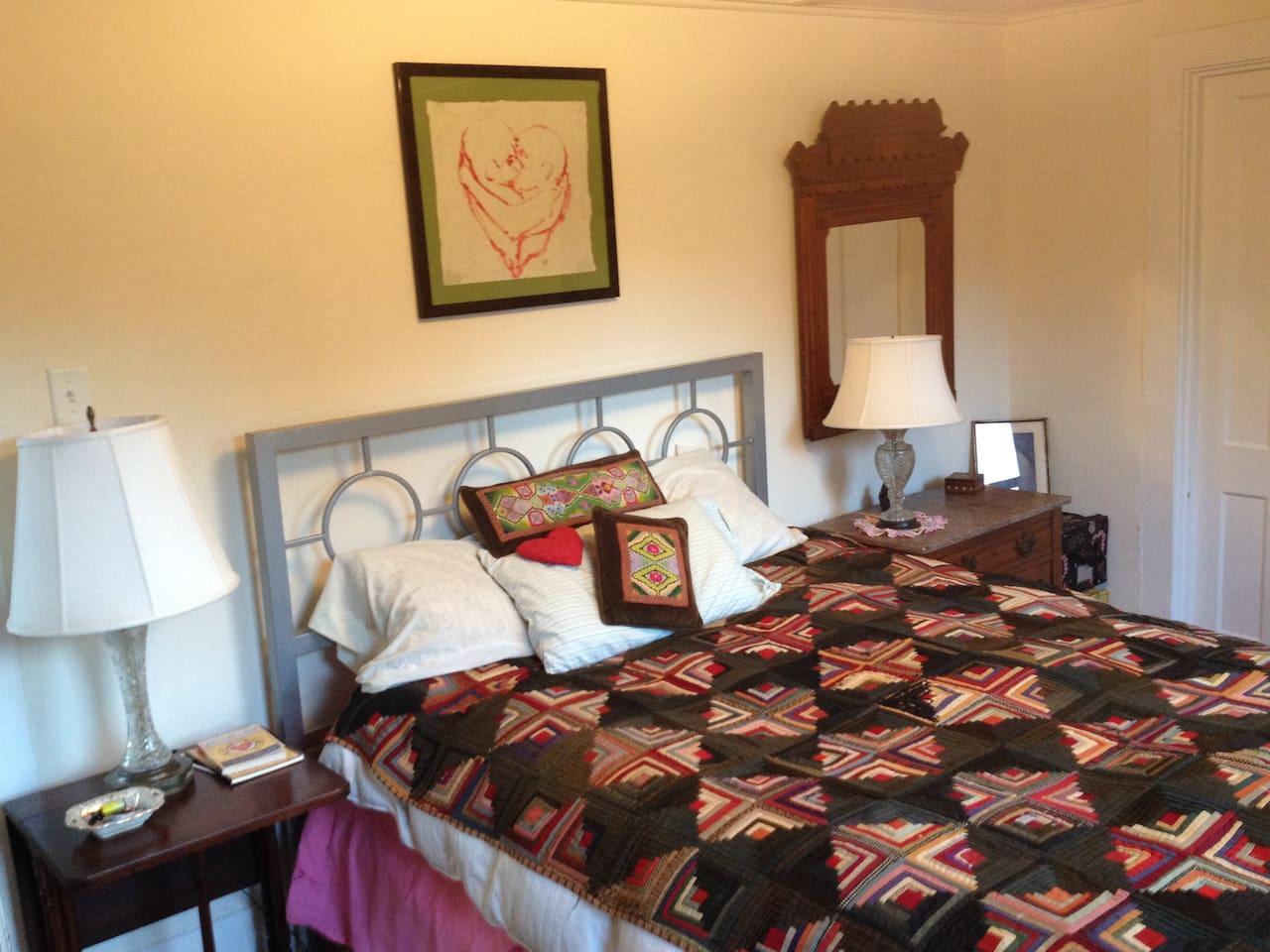 Great grandma's handmade quilts + goose down comforters = heavenly dreamy sleeps