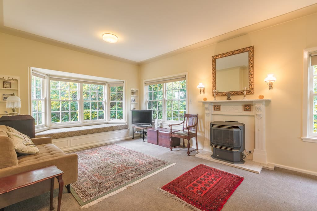 Large and comfortable living area with gas log fire