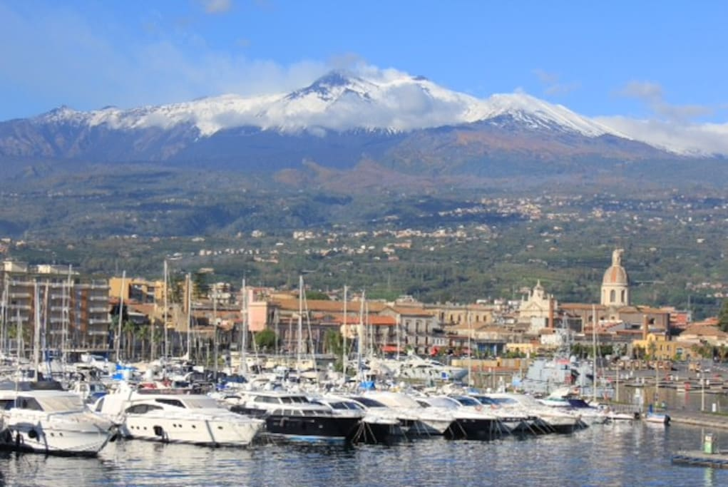 Our local Marina of Riposto and Mt Etna