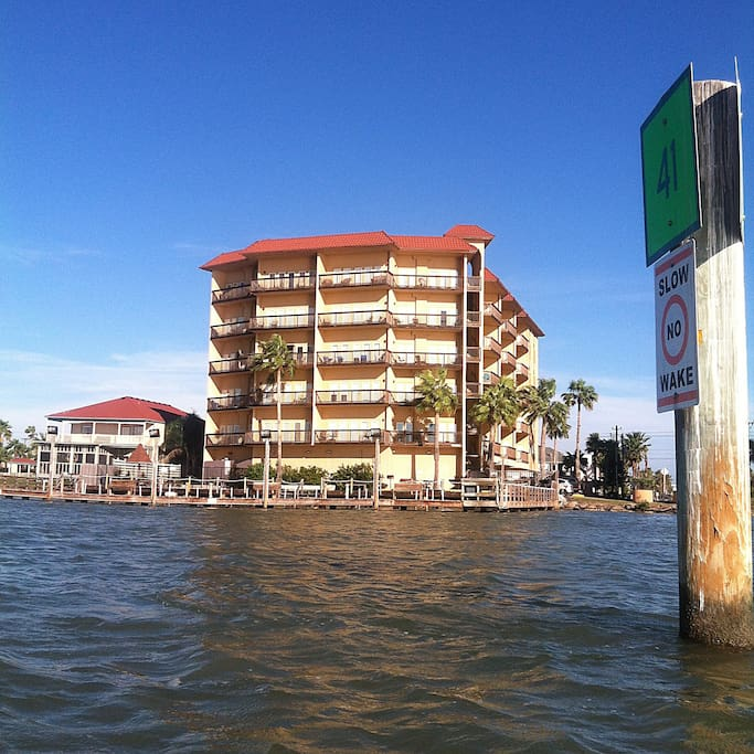 Our condo building right on the water. We are on the third floor.