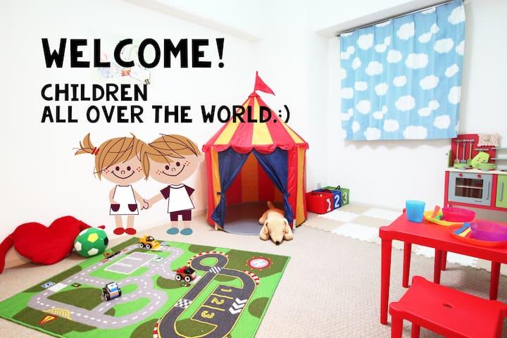 6pax KIX bus direct! Umeda sta 7min with kids room - Ōsaka-shi - Daire