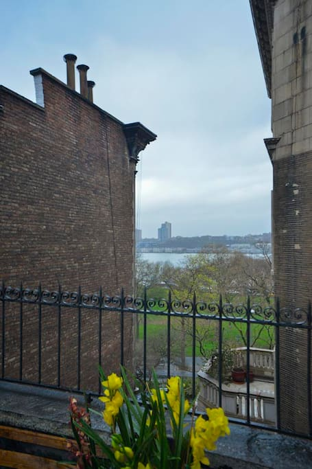 Terrace with view of Hudson River and Riverside Park