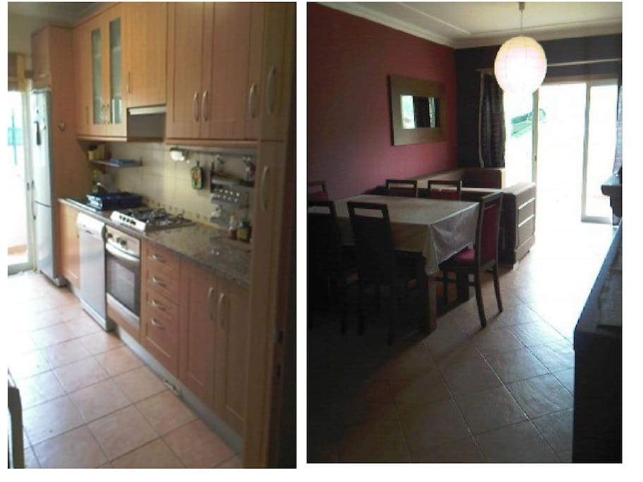 Kitchen, living (with sofa bed)/dining room