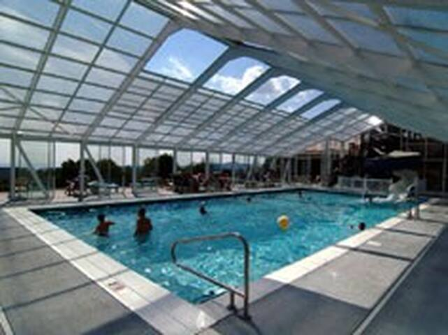 Glass Covered Pool with Slide- Open Memorial Day through October